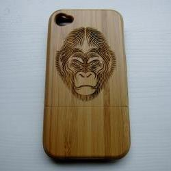 Monkey - Bamboo Iphone case 4S laser- engraved